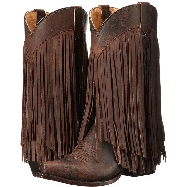 Roper Tall Fringe (Brown Burnished) Cowboy Boots ($245) ❤ liked on Polyvore featuring shoes, boots, mid-calf boots, fringe cowgirl boots, tall cowgirl boots, brown fringe boots, leather cowboy boots and leather boots