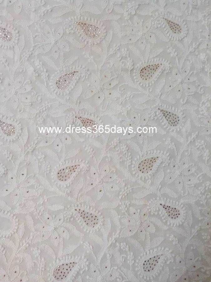 Buy Unstitched Kurta Fabric with Chikan Embroidery and Mukaish(One Piece)