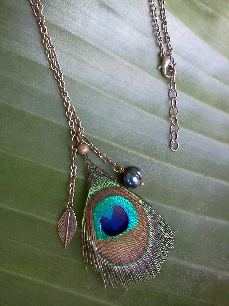 Peacock feather necklace.