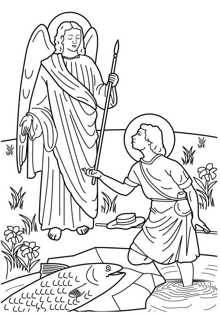 Saint Raphael and Tobias Catholic Coloring Page.  Feast day is September 29, which is the feast of the Archangels