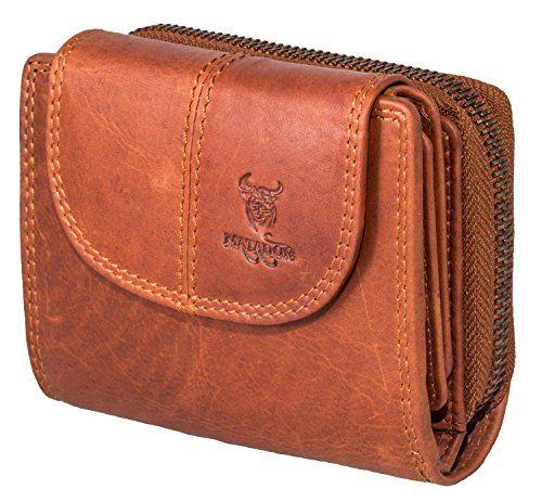 9750c5573bc0e MATADOR Echt Leder Damen Frauen Geldbörse Portemonnaie Vintage Braun  Portmonee RFID Schutz Geldbeutel Klein verstaungsmöglichkeiten.