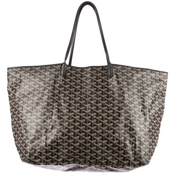 Pre-owned Goyard Off With Code Get200] St. Louis Gm Black Tote Bag (29,525 MXN) ❤ liked on Polyvore featuring bags, handbags, tote bags, black, coated canvas tote, flat purse, black tote, goyard purse and goyard tote