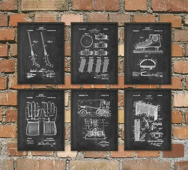 Ice Hockey Patent Prints Set Of 6 NHL Wall Art by QuantumPrints