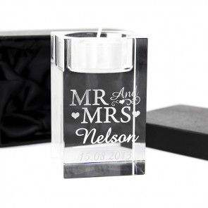 mr and mrs candle holder