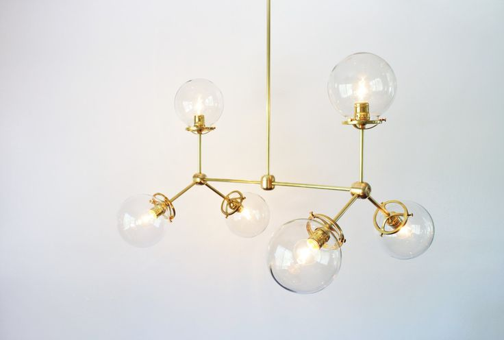 Modern Brass Chandelier 6 Clear Glass Globes Large by BootsNGus