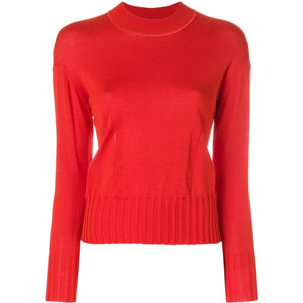 Kenzo knitted pattern jumper ($345) ❤ liked on Polyvore featuring tops, sweaters, red, red sweater, red top, red long sleeve top, kenzo sweater and long sleeve jumper