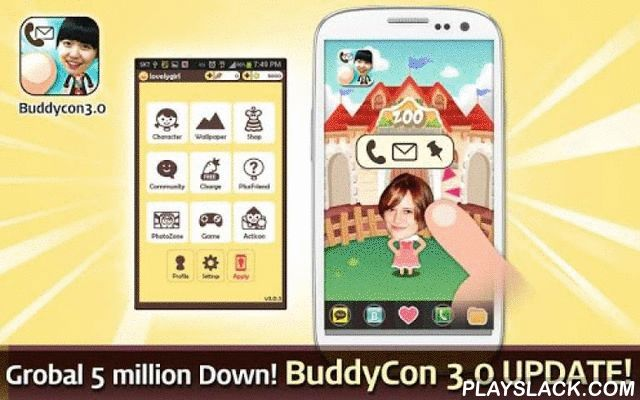 """BuddyCon 3.0  Android App - playslack.com ,  ★★★★Buddycon 3.0 is updated!★★★★★★ 3.0 Update Information ★- Freely making characters! (but the number of charaters in backgound limit)- Give and Take moving letter """"Acticon"""" and Carrots ! (Must link friend's Nickname in slot)- Play more mini game than twice before !- Can take Carrots used free rewards !- Boast and share your pictures in Community- More added various contents!- You can use Buddycon without appying in background★ update guide ★ The…"""