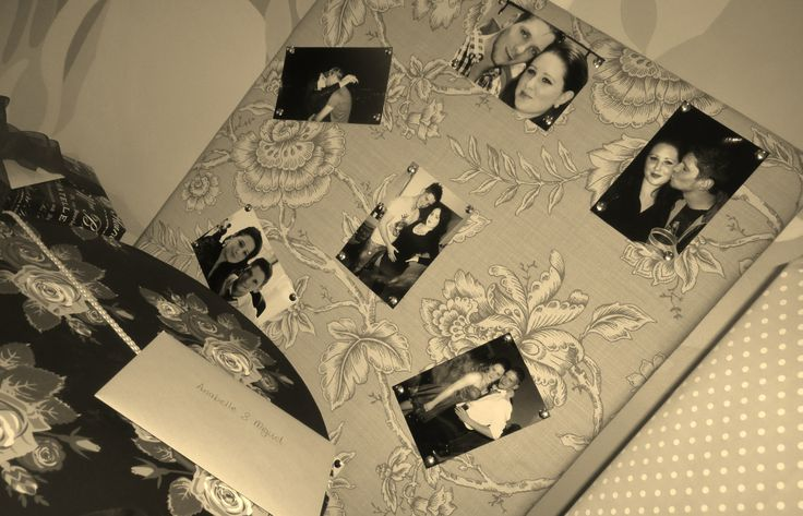 Fabric Covered Pin Board with Old Photos