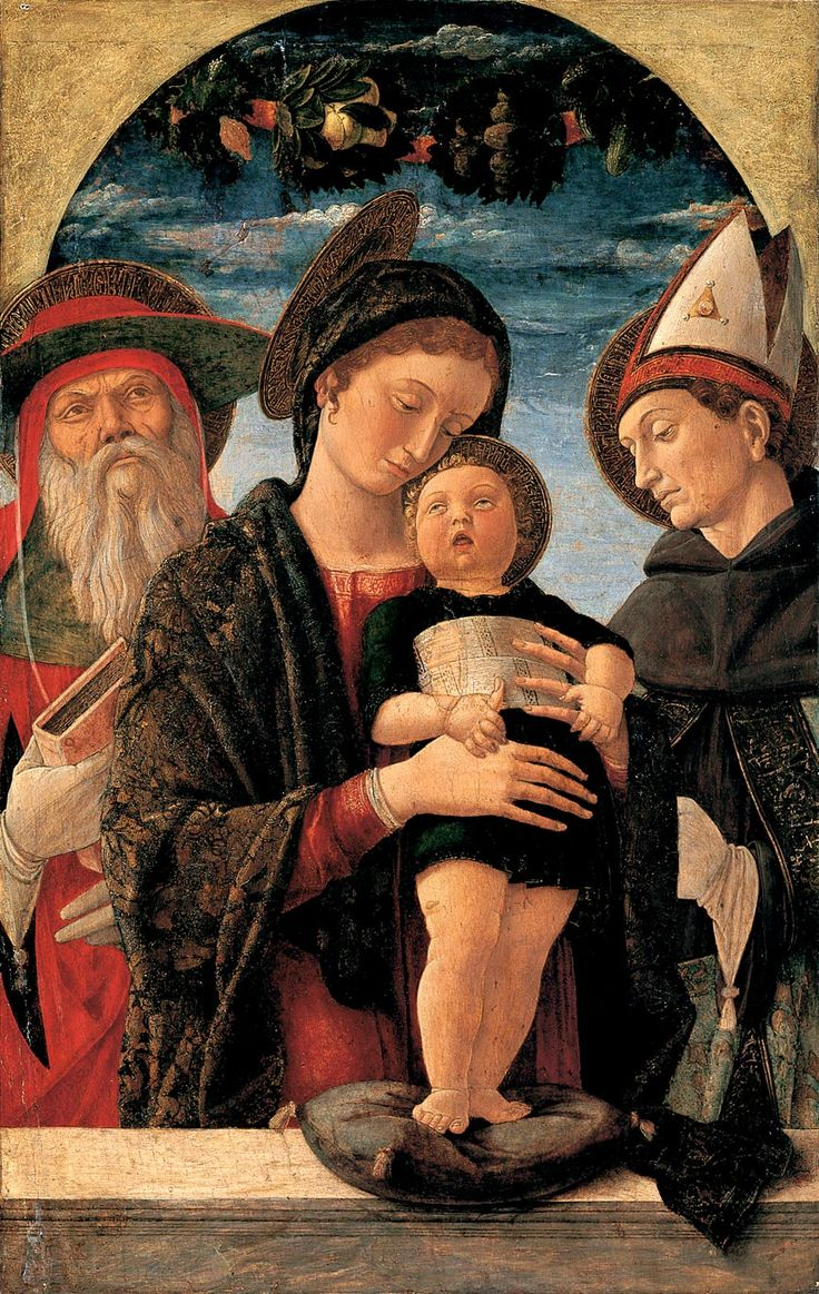 Andrea Mantegna ~ Virgin and Child with Saints Jerome and Louis of Toulouse, c.1455