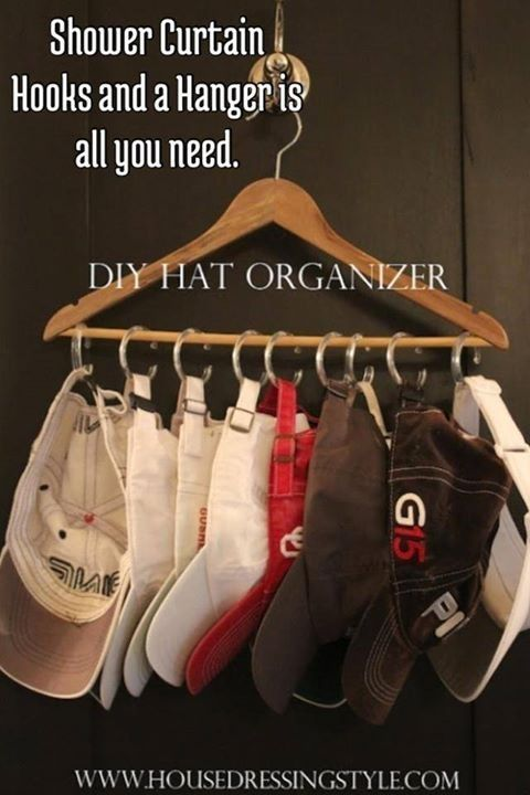 Shower curtain rings on a hanger is all you need to make this easy DIY hat organizer for your closet! DIY baseball hat organizer