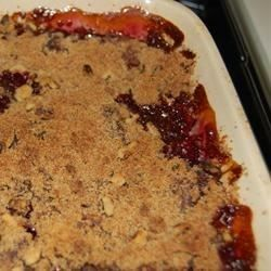 A cherry crisp using sour pie cherries that has an oatmeal crunch topping. This is delicious warm from the oven with ice cream. Fresh, frozen, or canned cherries may be used.