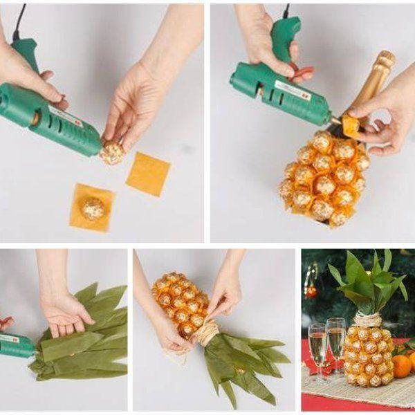 Ananas z cukierków - szampan