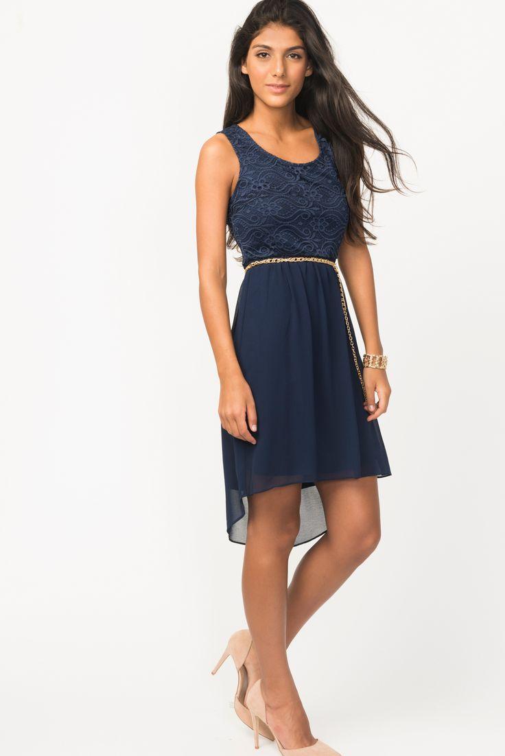 Belted Lace Chiffon Hi-Low Dress