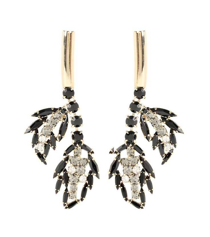 Marni - Crystal-embellished earrings - Marni's sparkling earrings will amp up any dress this party season. The pale gold-tone pair feature black and grey crystals dangling in an organic, leaf-like shape for a stunning, elegant look. Style with your hair swept back to allow them to stand out. seen @ www.mytheresa.com