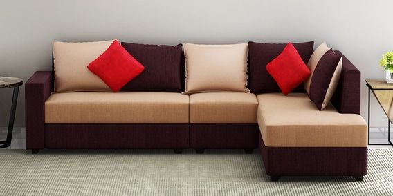 Jordan Lhs Sectional Sofa With Pouffe In Beige And Brown Colour By Muebles Casa Sectional Sofa Pouffe Sofa