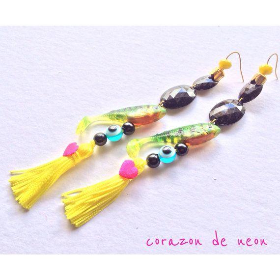 Fish bait earrings by corazondeneon on Etsy, $22.00