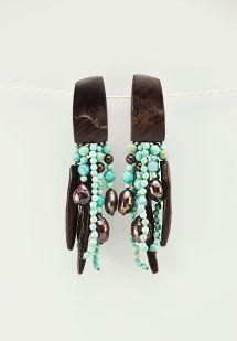 Monies Turquoise, Pearl, & Ebony Clip-On Earrings