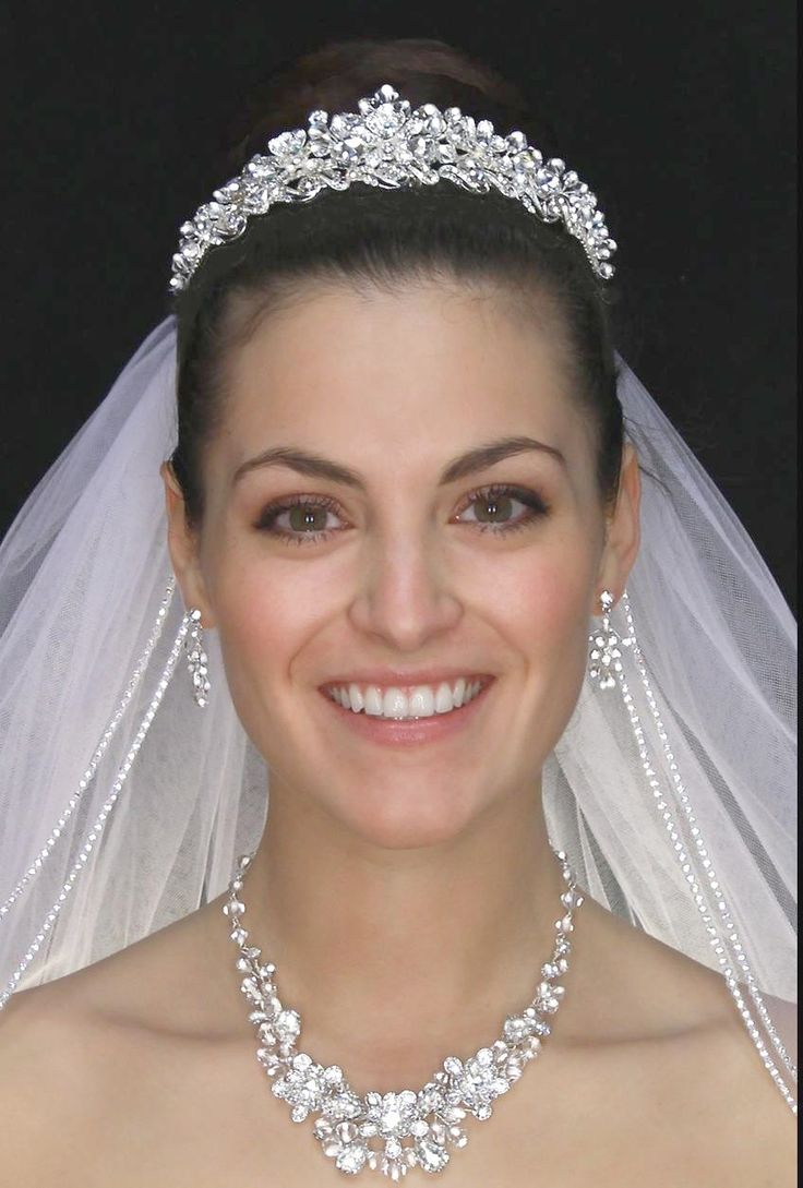 Tiaras wedding side tiara bridal necklace wedding bracelet tiara - Crystal And Rhinestone Floral Wedding Tiara And Jewelry Set