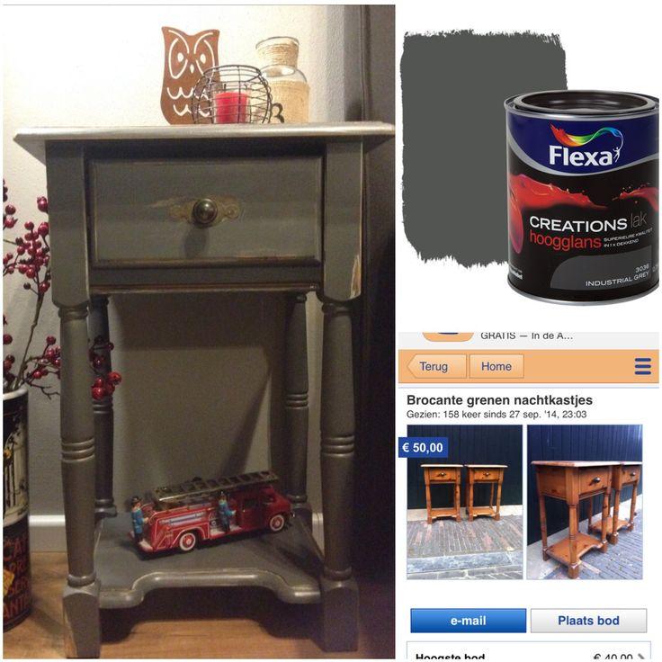 'Nieuwe' nachtkastjes! #DIY, #Flexa, #marktplaats, #creatief, #doehetzelf, #wonen, #vintage, #grenen, #styling, #schuren, #home, #opknapper, #decor, #decoration, #refurbish, #nightstand, #industrial, #nachtkastjes