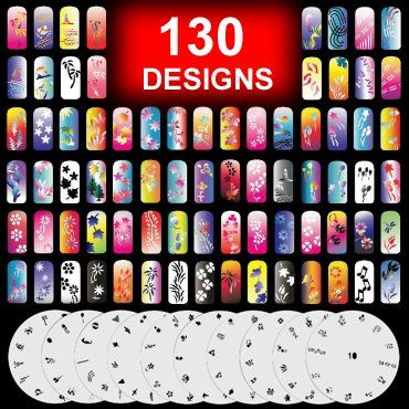 10 Airbrush Nail Art Stencil Sheet Pattern Set Page 1-10 - 10 Sheet of Airbrush Nail Art Stencil. Professional-grade, airbrush nail-art stencil set. Each sheet has approximately 12-13 designs. Design can used separately, or combine several patterns. Along wit... - Nail Art Equipment - Beauty - $13.50