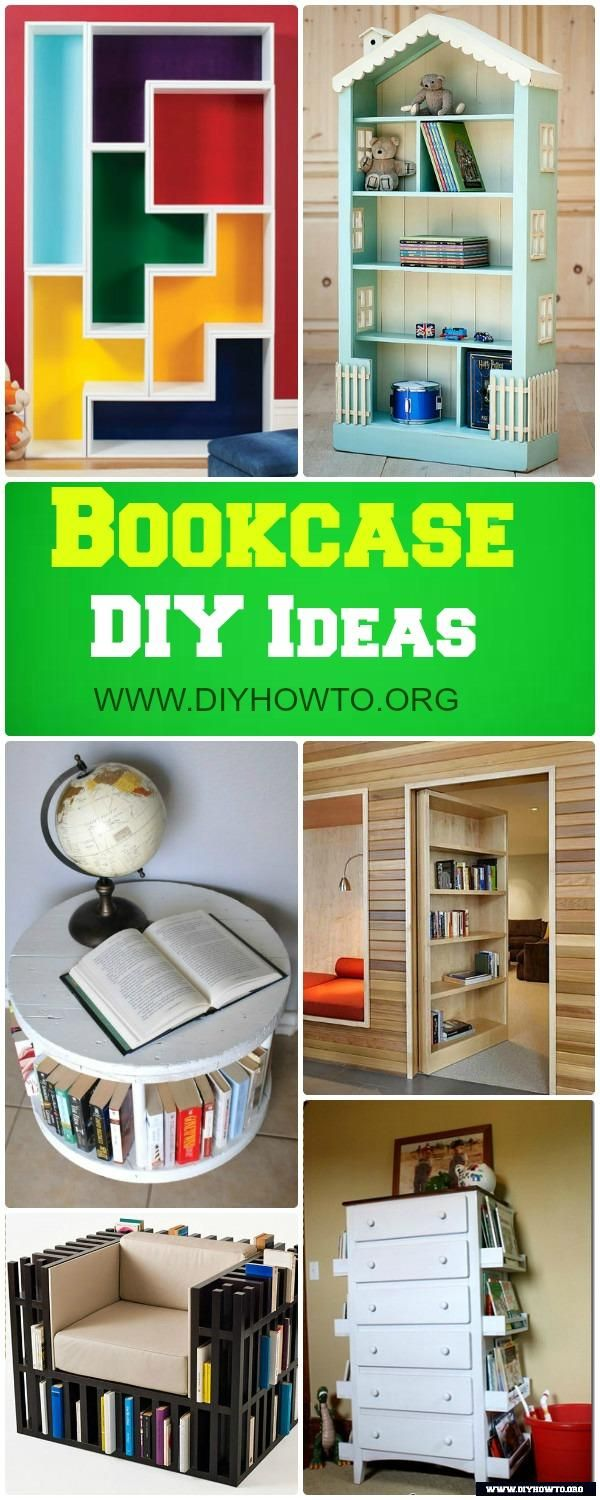 Build Your Own Bookcase and Bookshelf DIY Free Plans: Bookcase Door, Dollhouse Bookshelf and More via @diyhowto