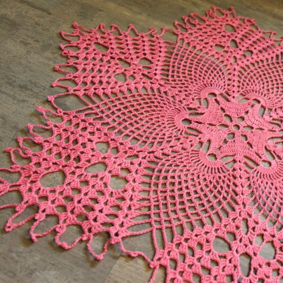 Large Pineapple doily Crochet Doilies, lace doilies, crocheted place mat, centre piece, Photography prop, napkin, handmade doilies, pink