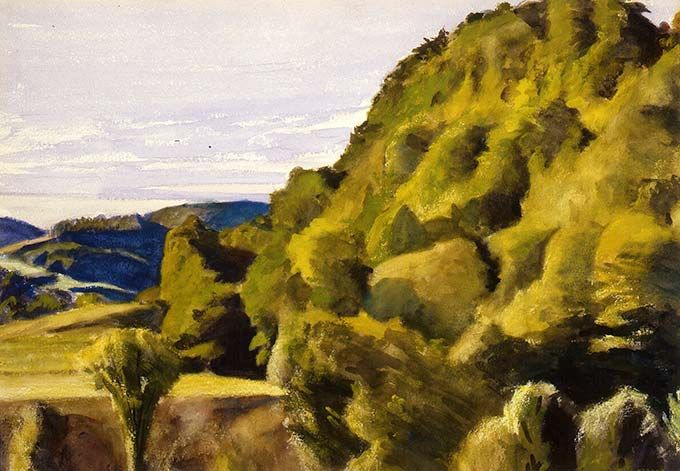 Edward Hopper, Bob Slater's Hill, 1938, watercolor on paper, 13 1/4 x 19 1/2 inches. Huntington Museum of Art, Huntington, West Virginia. Gift of Ruth Woods Dayton, 1967.1.132