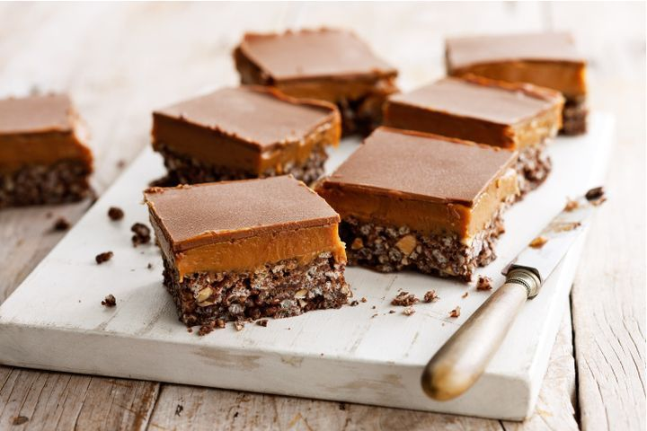 Chocolate crackle peanut caramel slice