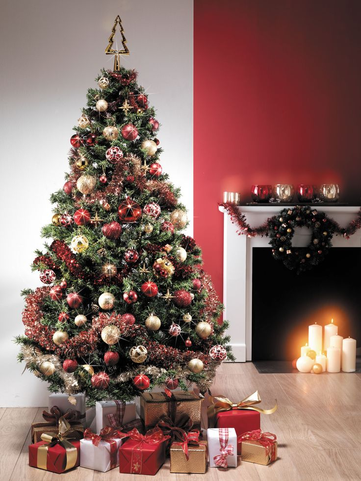 sapin de no l rouge et or centrakor christmas trees. Black Bedroom Furniture Sets. Home Design Ideas