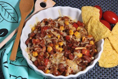 Mexicaanse schotel met paprika, ui, mais, bruine bonen en kaas - De keuken van Ursie
