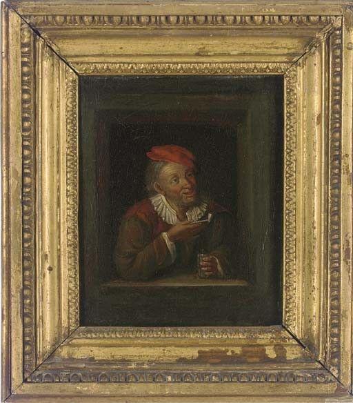 Een tevreden roker. Jaar: ? Particulier bezit. Naar Gerard Dou: schilder met pijp en boek in een venster. ca. 1645-1650