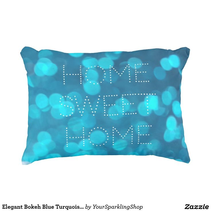 Elegant #Bokeh Blue Turquoise Light Circles Pattern #Accent #Pillow