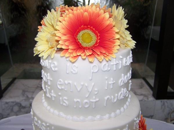 Bible verse written on cake