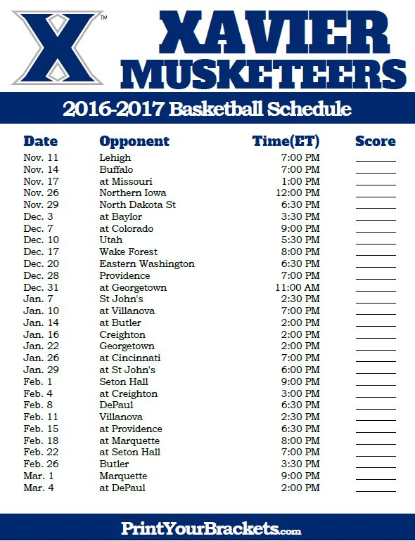 Xavier Musketeers 2016-2017 College Basketball Schedule