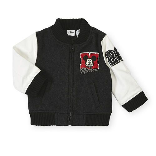 Little athletes can show their sporty style with this Disney Boys Black/White Long Sleeve Mickey Mouse Wool Varsity Jacket - Toddler. Mousketeers will enjoy having Micky as…
