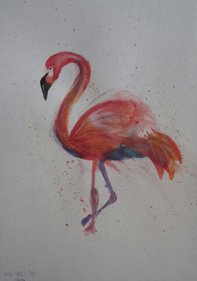 Waterverf flamingo