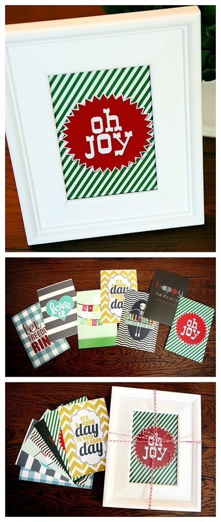 Year Long Gift in a Frame. Buy one frame and then print these fun printables that they can switch out throughout the year. Such a great gift idea!
