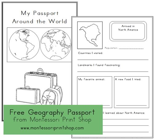 Free Printable Geography Passport for Continent Studies (3 versions) from Montessori Print Shop