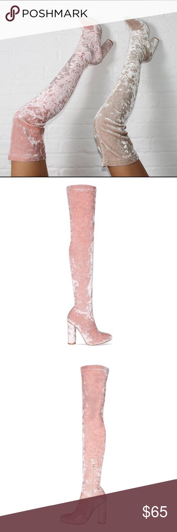NIB Simmi London Luna Thigh High New never been worn pink velvet thigh high boots Simmi London Shoes Over the Knee Boots