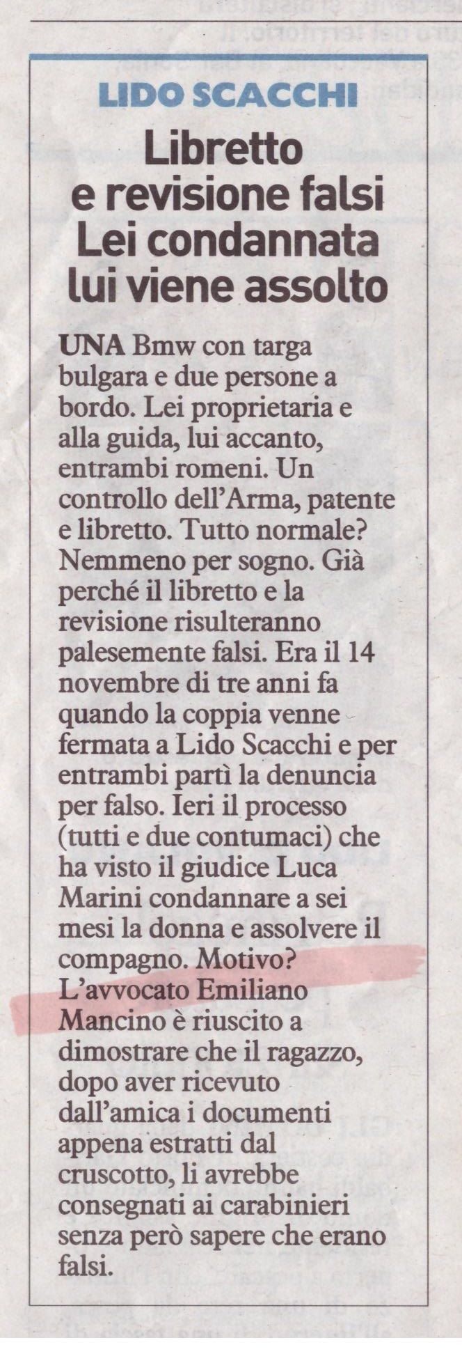 Dal Resto del Carlino Ferrara...#Tribunale #Penale #Ferrara #Assoluzione #StudioLegaleMancino #AvvEmilianoMancino