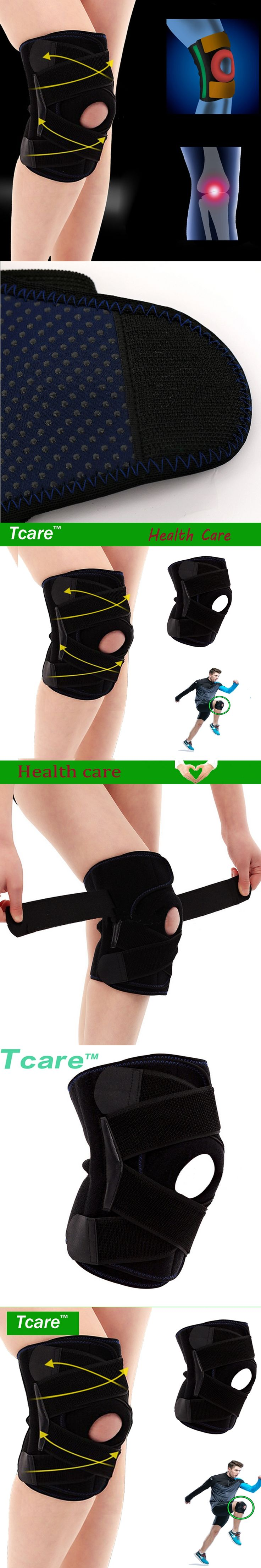 Tcare 1 pair Health Care Self-heating Knee Brace Adjustable Sports Knee Support Protector With Round EVA Silicone Gasket
