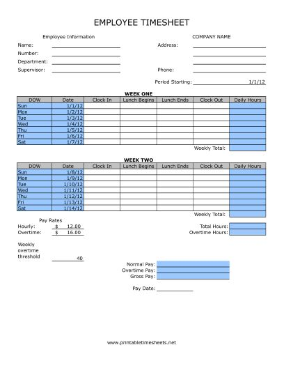 Timesheet With Lunch Printable Time Sheets, free to download and print