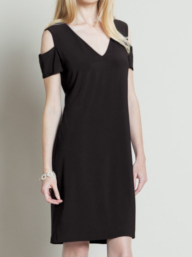 Something You - Clara Sunwoo Open Shoulder V-Pull Over Dress with 1/2 Sleeve - Black - DR514, $112.50 (http://www.somethingyou.com/new/clara-sunwoo-open-shoulder-v-pull-over-dress-with-1-2-sleeve-black-dr514/)