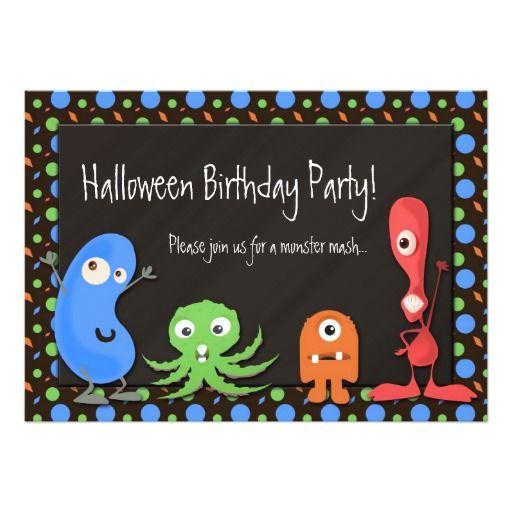 Cute Monster Halloween Birthday Party Invitations