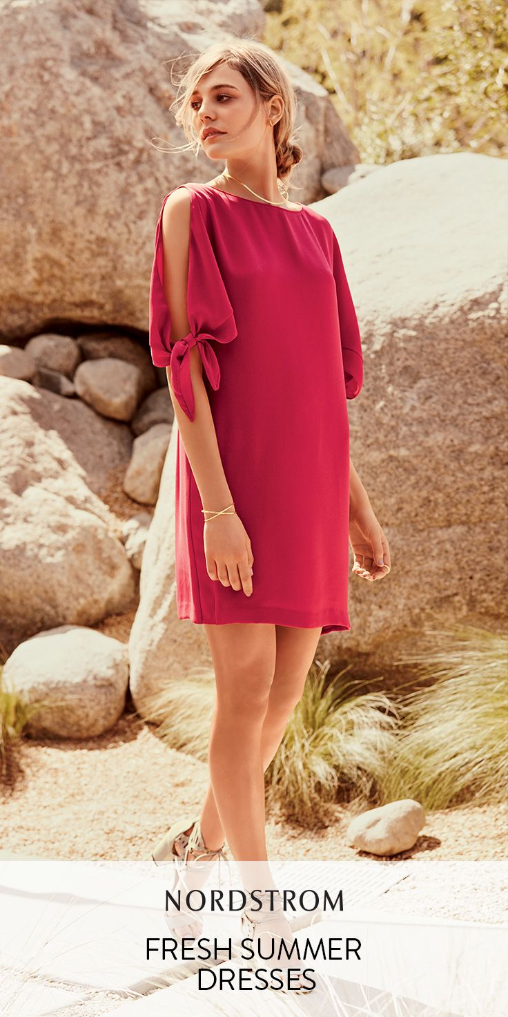 The best summer dresses from Nordstrom, including off-the-shoulder looks like this one from Vince Camuto. Fluttery sleeves with cold-shoulder slits delicately tie at the elbows on this bright-pink dress cut in an easy shift silhouette. Great for a night out!