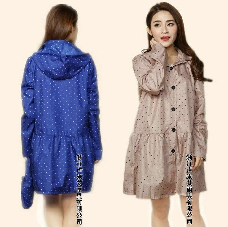 fashion Rain Poncho Coat Jackets Female  Blue/Beige thin adult long raincoat women chubasqueros Impermeables Mujer