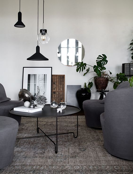 Modern Scandinavian living room with grey and black interior