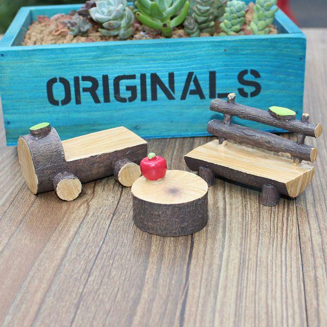 Kunstmatige Hout Stoel Miniatuur Fairy Tuin Home Huizen Decoratie Mini Craft Micro Landschapsarchitectuur Decor DIY Accessoires