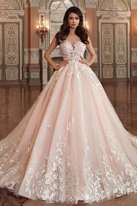 Princess Tulle Bateau Ball Gown Wedding Dress With Lace Appliques OK791 a798fdbc1