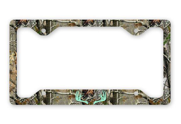 Mint Antlers Camo Deer License Plate Frame Car Tag Country